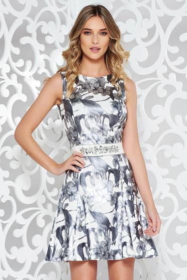 Rochie StarShinerS argintie eleganta din material usor elastic si lucios
