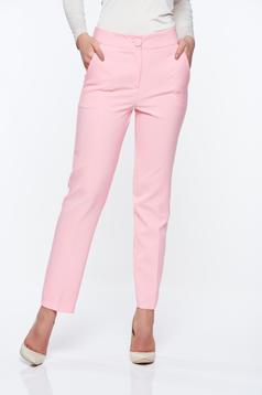Pantaloni Artista roz office conici cu talie medie din stofa usor elastica cu buzunare