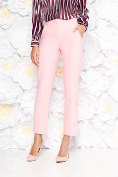 Pantaloni Artista roz office cu un croi drept cu talie medie din stofa usor elastica cu buzunare