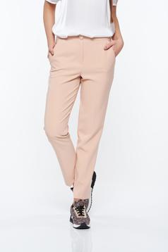Pantaloni Artista rosa office conici cu talie medie din stofa usor elastica cu buzunare