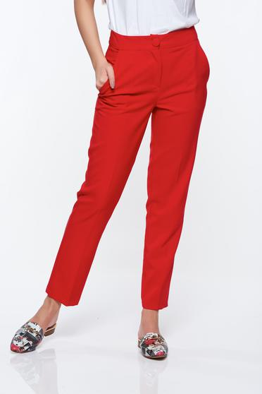 Pantaloni Artista rosii office conici cu talie medie din stofa usor elastica cu buzunare