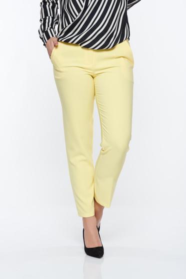 Pantaloni Artista galbeni office conici cu talie medie din stofa usor elastica cu buzunare