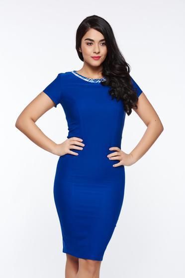 Rochie LaDonna albastra eleganta tip creion din stofa usor elastica captusita pe interior