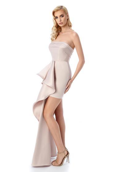 Rochie Ana Radu rosa de lux scurta tip corset din material satinat cu un volan lung