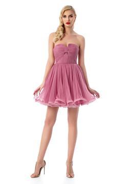 Rochie Ana Radu roz de lux in clos tip corset din tul captusita pe interior