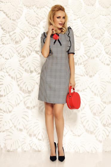 Rochie gri Fofy office cu croi in A din material usor elastic cu aplicatii de dantela