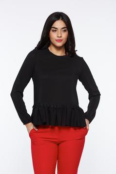 Bluza dama StarShinerS neagra eleganta cu croi larg din material usor elastic cu aplicatii de dantela