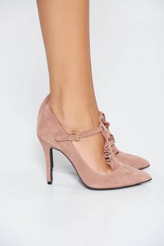 Pantofi MissQ rosa elegant din piele naturala cu toc inalt cu varful usor ascutit