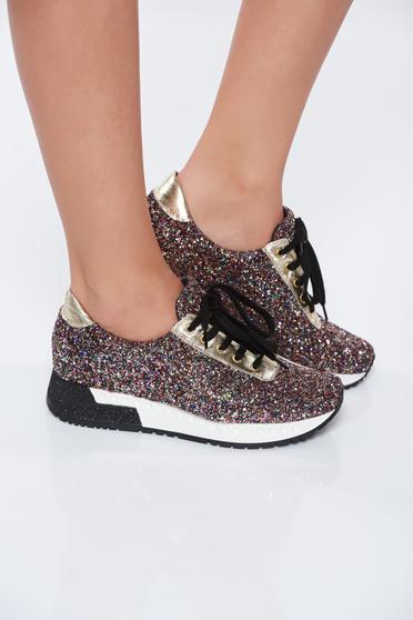 Pantofi sport MissQ negru casual cu talpa usoara din piele naturala cu aplicatii stralucitoare