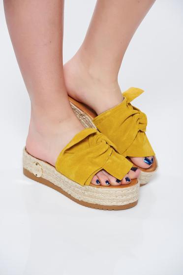 Papuci MissQ galbeni casual din piele naturala cu talpa usoara