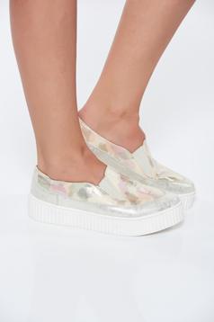 Pantofi sport MissQ auriu casual din piele naturala cu talpa usoara