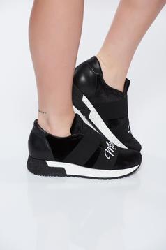 Pantofi sport MissQ negri casual cu talpa usoara din catifea si piele naturala in interior