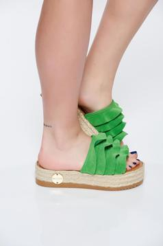 Papuci MissQ verzi casual din piele naturala cu talpa usoara