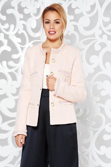 Sacou LaDonna rosa elegant cambrat din bumbac neelastic captusit pe interior