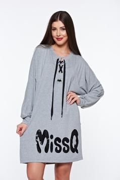Rochie MissQ gri casual cu croi larg din material elastic accesorizata cu snur