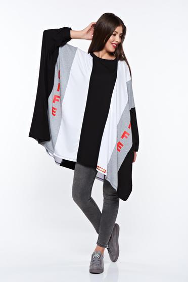 Bluza dama MissQ neagra casual cu croi larg din bumbac cu print