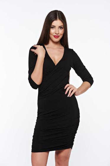 Rochie MissQ neagra casual petrecuta din material elastic cu decolteu in v