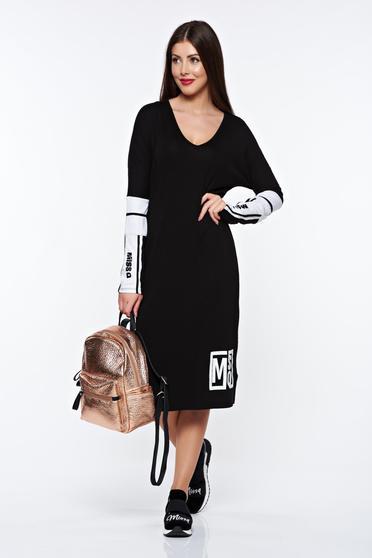 Rochie MissQ neagra casual cu croi larg din material elastic cu decolteu in v
