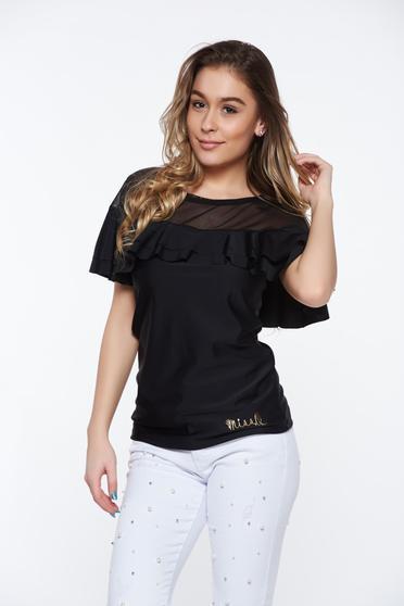 Bluza dama MissQ neagra casual cu un croi mulat din material elastic cu volanase