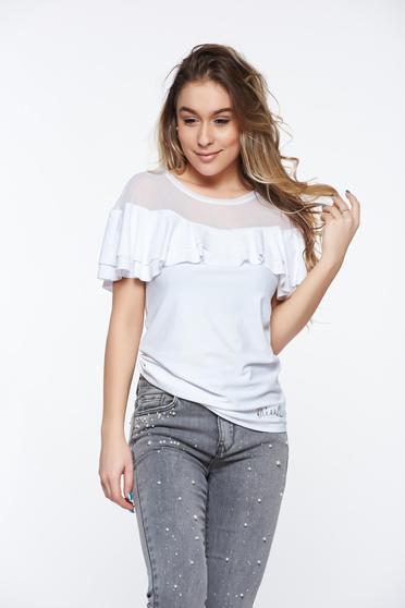 Bluza dama MissQ alba casual cu un croi mulat din material elastic cu volanase