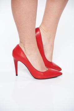 Pantofi rosii din piele naturala cu toc inalt cu varful usor ascutit