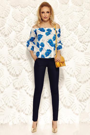 Pantaloni Fofy albastri-inchis office conici cu talie inalta din material usor elastic cu buzunare