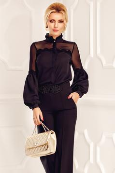 Bluza dama Fofy neagra eleganta din material vaporos si transparent cu aplicatii de dantela