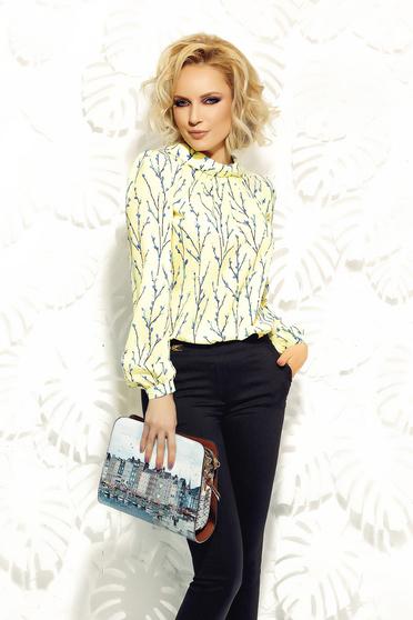 Bluza dama Fofy galbena eleganta cu croi larg din material vaporos