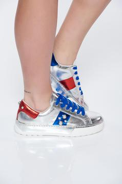 Pantofi sport argintiu casual din piele naturala cu talpa joasa cu aplicatii cu perle