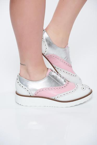 Pantofi rosa casual din piele naturala cu talpa joasa