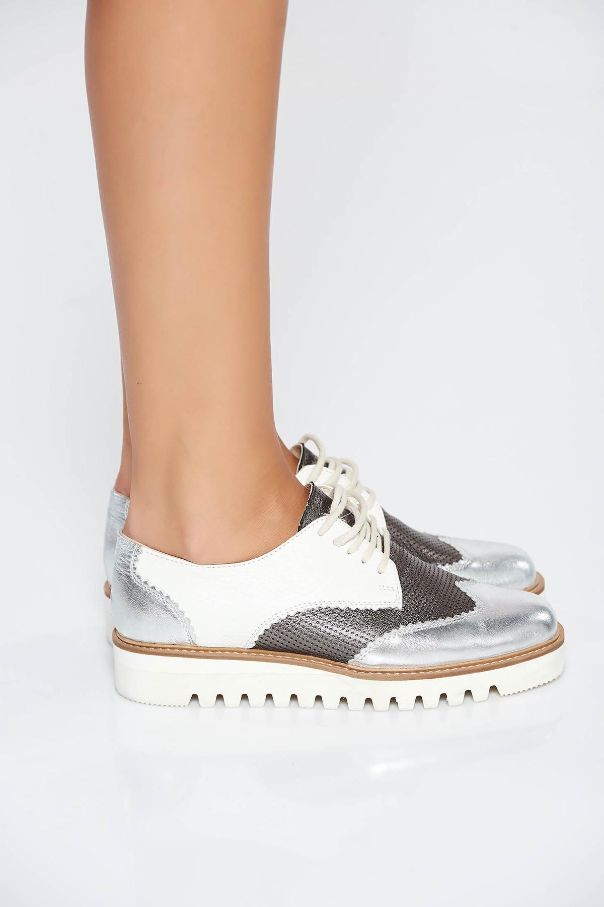 Pantofi argintiu casual din piele naturala cu siret