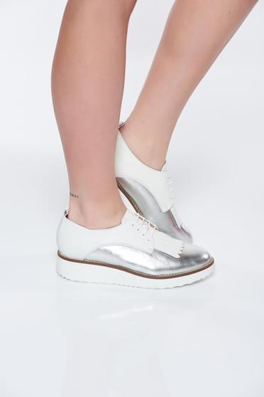 Pantofi argintiu casual din piele naturala cu talpa joasa