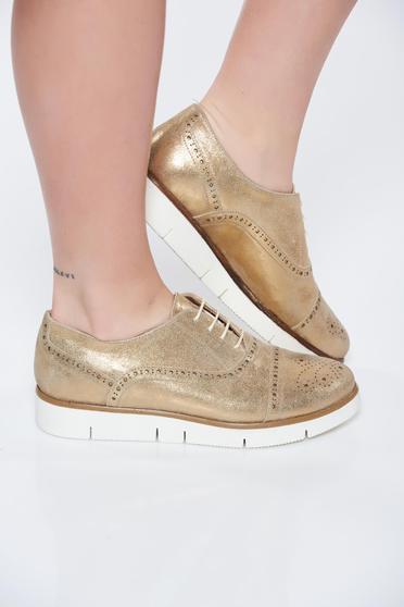 Pantofi auriu casual din piele naturala cu talpa joasa cu siret
