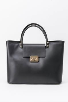 Geanta dama neagra office din piele naturala cu accesoriu metalic