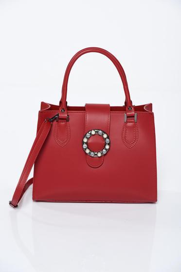 Geanta dama rosie office din piele naturala cu aplicatii cu perle
