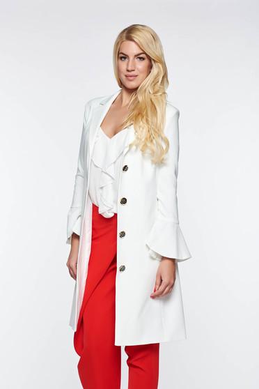 Trench LaDonna alb elegant din stofa usor elastica captusit pe interior