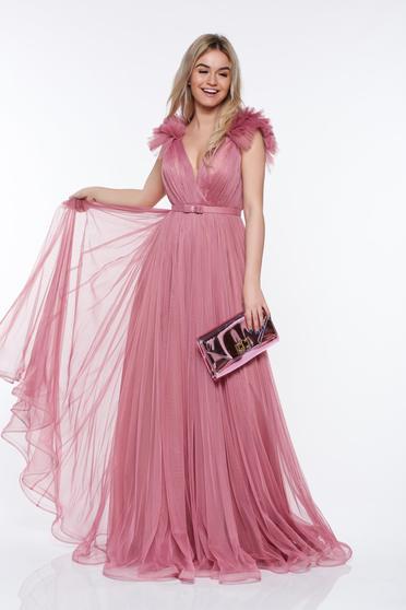 Rochie Ana Radu rosa de lux din tul captusita pe interior cu bust buretat si decolteu adanc