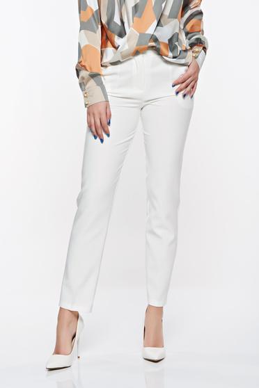Pantaloni Artista albe office conici cu talie medie din stofa usor elastica cu buzunare