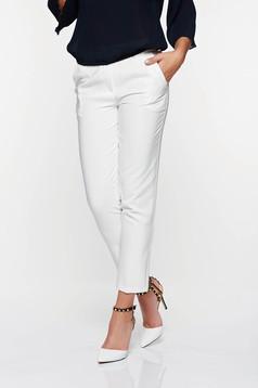 Pantaloni Artista albi office conici cu talie medie din stofa usor elastica cu buzunare