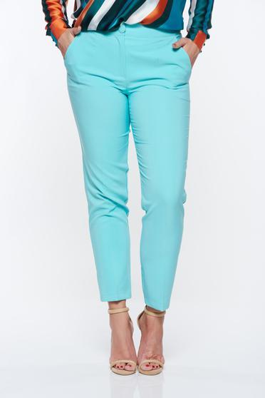 Pantaloni Artista mint office conici cu talie medie din stofa usor elastica cu buzunare