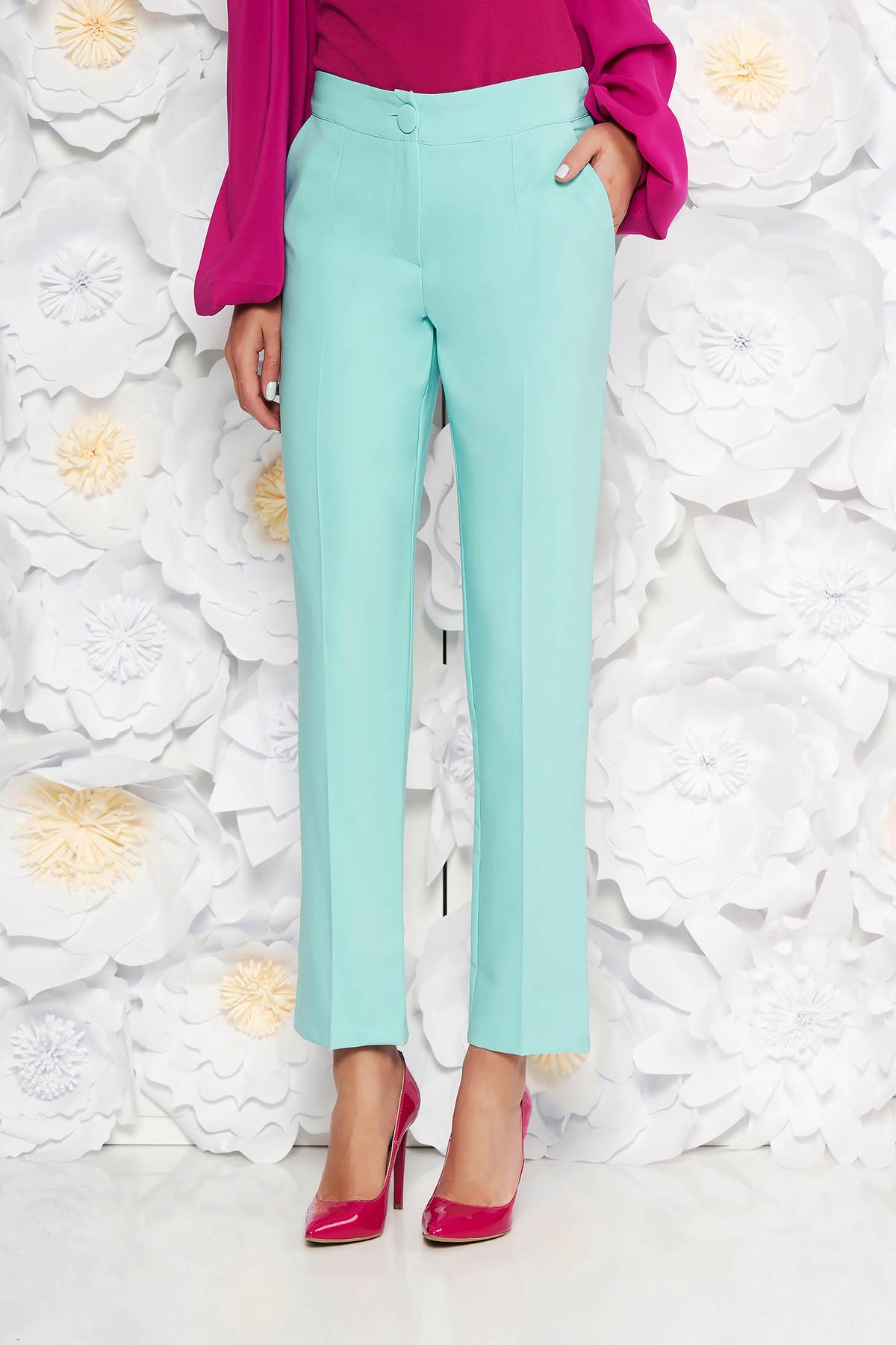 Pantaloni Artista mint office cu un croi drept cu talie medie din stofa usor elastica cu buzunare