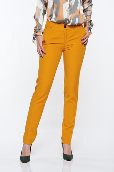 Pantaloni PrettyGirl mustarii eleganti conici cu talie medie din material usor elastic cu buzunare