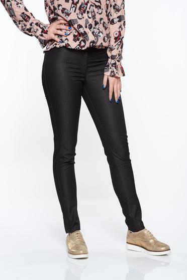 Pantaloni PrettyGirl negri office conici cu talie medie din bumbac neelastic