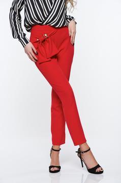 Pantaloni PrettyGirl rosii eleganti conici din material usor elastic cu talie inalta