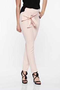 Pantaloni PrettyGirl rosa eleganti conici din material usor elastic cu talie inalta