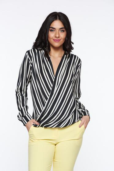 Bluza dama PrettyGirl neagra eleganta cu croi larg petrecuta din material satinat