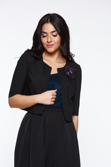 Sacou StarShinerS negru tip bolero din stofa subtire usor elastica captusit pe interior