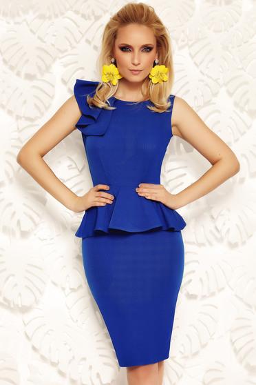 Rochie Fofy albastra eleganta tip creion cu peplum