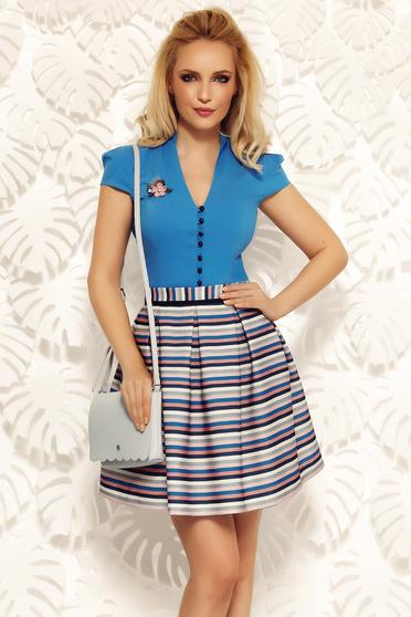 Camasa dama Fofy albastra office din bumbac cu un croi mulat cu decolteu in v
