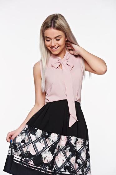 Bluza dama StarShinerS rosa eleganta cu croi larg din material vaporos si transparent